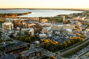 The University of Wisconsin-Madison campus, including the UW Hospitals and Clinics, are pictured in an early morning aerial taken from a helicopter