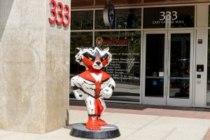 "A Bucky Badger statue titled ""Superbuck,"" which was created by artist Rob Severson, is pictured near 333 East Campus Mall at the University of Wisconsin-Madison"