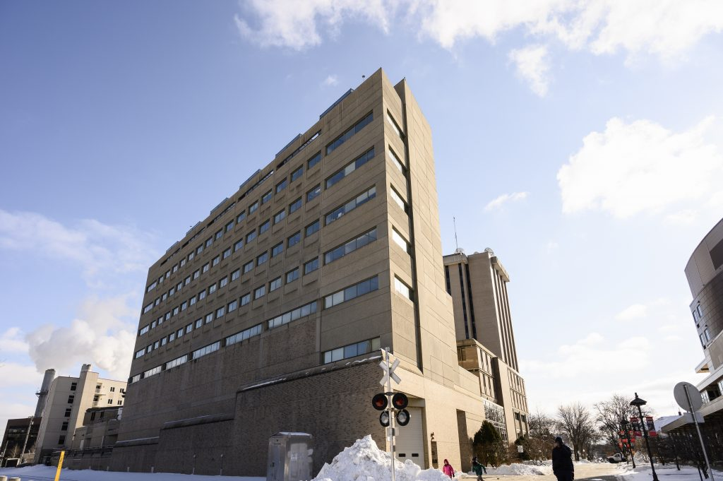 The exterior of the Computer Sciences and Statistics Building at the University of Wisconsin-Madison is pictured during a snowy winter day on Jan. 20, 2020. (Photo by Brian Huynh /UW-Madison)